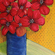 Red Flowers In A Blue Vase Poster