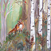 Red Fox And Cardinals Poster