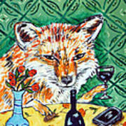 Red Fox At The Wine Bar Poster by Jay  Schmetz
