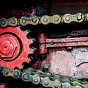 Red Gear Wheel And Chain Of Old Locomotive Poster by Matthias Hauser