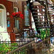 Red Geraniums Verdun Winding Staircases Hanging Flower Basket Montreal Porch Scene Carole Spandau Poster