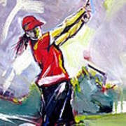 Red Golf Girl Poster