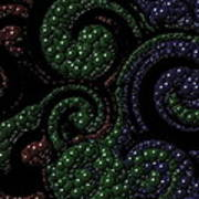 Red Green Blue Swirls Marbles Poster
