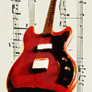 Red Guitar Poster by Bill Cannon