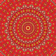 Red Gum Flowers Mandala Poster