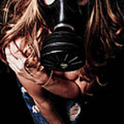 Red Head Gas Mask Poster
