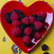 Red Heart Dish And Raspberries Poster
