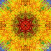 Red Heart Sun Rainbow Mandala Poster