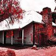 Red Homestead Garden Poster