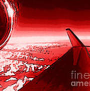Red Jet Pop Art Plane Poster