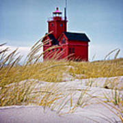 Red Lighthouse By Holland Michigan Known As Big Red Poster