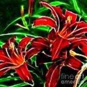 Red Lilies Expressive Brushstrokes Poster