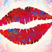 Red Lips Watercolor Painting Poster