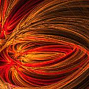 Red Luminescence-fractal Art Poster