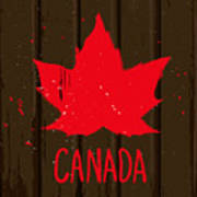 Red Maple Leaf On Brown Wood Wall Poster