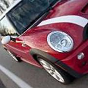 Red Mini-cooper Car On County Road Poster