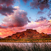 Red Mountain Sunset Poster