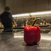 Red Pepper Awaits The Chop Poster