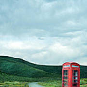 Red Phone Box On Rural Road Poster
