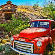 Red Pickup Truck At Santa Fe Poster