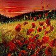 Red Poppies And Sunset Poster