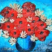 Red Poppies And White Daisies Poster
