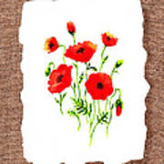 Red Poppies Decorative Collage Poster