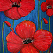 Red Poppies On Blue Poster
