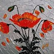 Red Poppies Original Palette Knife Poster