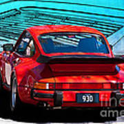 Red Porsche 930 Turbo Poster