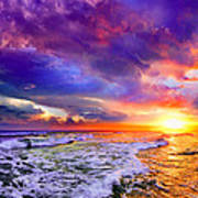 Red Purple Sea Sunset-sun Trail Waves Seascape Poster
