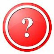 Red Question Mark Round Button Poster