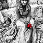 Red Red Rose In Black And White Poster