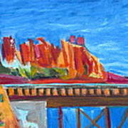 Red Rocks And Railroad Trestle Poster