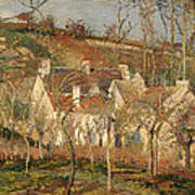 Red Roofs In A Village In Winter Poster