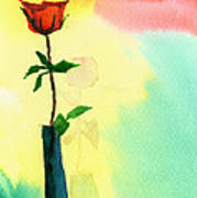 Red Rose 1 Poster by Anil Nene