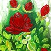 Red Roses From The Garden Poster