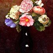 Red Roses In A Black Vase Poster