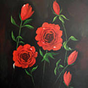 Red Roses Weeping Poster