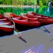 Red Rowboats Dock Lake Enhanced Iv Poster