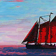 Red Sails On The Chesapeake - New Multimedia Acrylic/oil Painting Poster