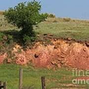 Red Sandstone Hillside With Grass Poster