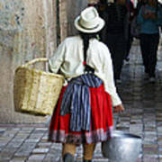 Red Skirted Woman Of Cuenca Poster