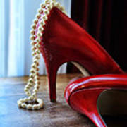 Red Shoes And Pearls Poster
