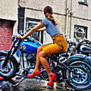 Red Shoes On A Harley Poster by Tony Reddington