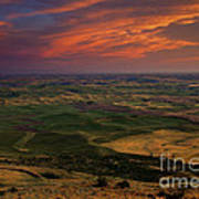 Red Sky Over The Palouse Poster