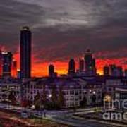 Red Sky Sunrise Midtown Atlanta Poster