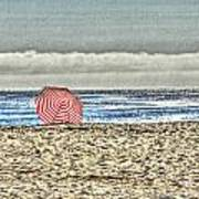 Red Striped Umbrella At The Beach Poster