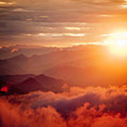 Red Sunset Himalayas Mountain Nepal Poster