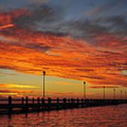 Red Sunset Pier Seaside Nj Poster